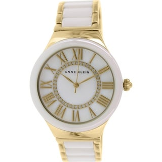 Anne Klein Women's AK-1814WTGB White Ceramic Analog Quartz Watch