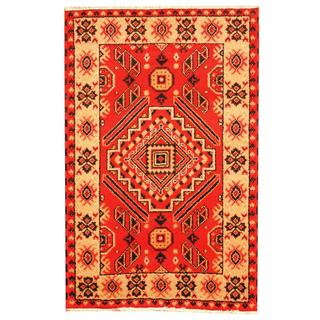 Herat Oriental Indo Hand-knotted Tribal Kazak Red/ Gray Wool Rug (3'3 x 5')