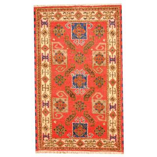 Herat Oriental Indo Hand-knotted Tribal Kazak Red/ Blue Wool Rug (3'2 x 5')