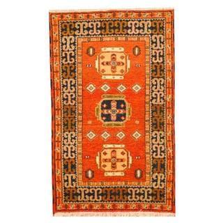 Herat Oriental Indo Hand-knotted Tribal Kazak Orange/ Blue Wool Rug (3' x 5')