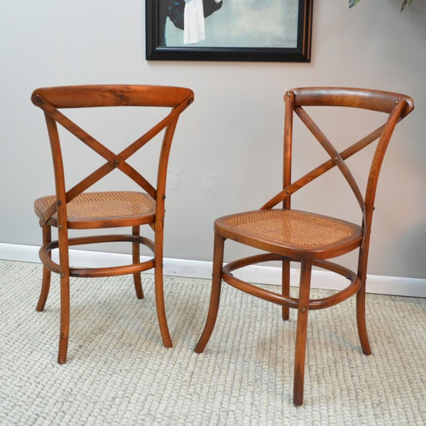Farris Wood/ Woven Cane Cafe Chair (Set of 2)