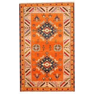 Herat Oriental Hand-knotted Tribal Kazak Orange/ Blue Wool Rug (3'3 x 5'2)