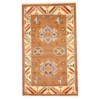 Herat Oriental Indo Hand-knotted Tribal Kazak Brown/ Ivory Wool Rug (3' x 5')