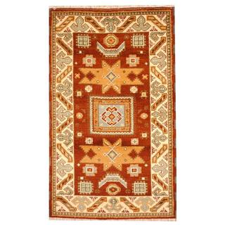 Herat Oriental Hand-knotted Tribal Kazak Brown/ Green Wool Rug (3' x 5')
