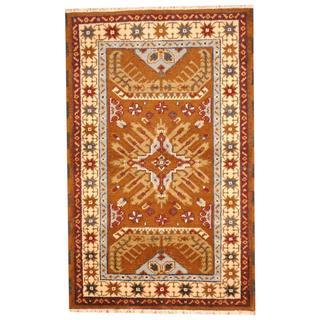Herat Oriental Hand-knotted Tribal Kazak Brown/ Light Blue Wool Rug (3'2 x 5')