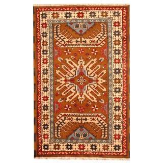 Herat Oriental Hand-knotted Tribal Kazak Brown/ Blue Wool Rug (3' x 5')