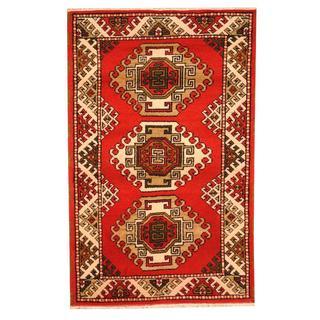 Herat Oriental Indo Hand-knotted Tribal Kazak Red/ Ivory Wool Rug (3'2 x 4'10)