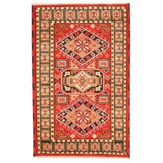 Herat Oriental Indo Hand-knotted Tribal Kazak Red/ Navy Wool Rug (3'3 x 4'10)