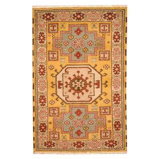 Herat Oriental Indo Hand-knotted Tribal Kazak Gold/ Beige Wool Rug (3'2 x 5')