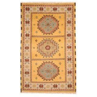 Herat Oriental Indo Hand-knotted Tribal Kazak Gold/ Beige Wool Rug (3' x 5')