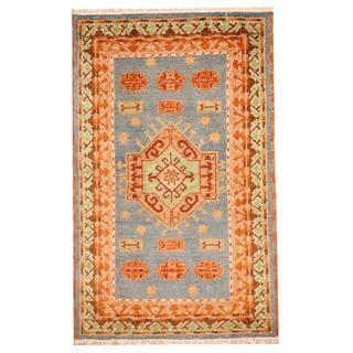 Herat Oriental Indo Hand-knotted Tribal Kazak Light Blue/ Rust Wool Rug (3'2 x 5')