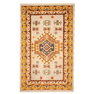 Herat Oriental Indo Hand-knotted Tribal Kazak Light Green/ Gold Wool Rug (3'3 x 5')