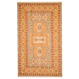 Herat Oriental Indo Hand-knotted Tribal Kazak Gray/ Beige Wool Rug (3'1 x 5')