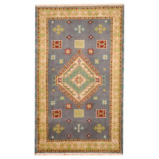 Herat Oriental Indo Hand-knotted Tribal Kazak Gray/ Ivory Wool Rug (3'1 x 5')