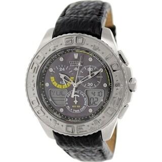 Citizen Men's JR4037-04E Black Leather Eco-drive Watch