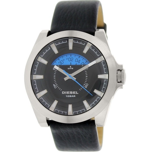 Diesel Men's DZ1659 'Arges' Black Leather Watch