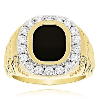 14k Yellow Gold Men's 1 1/2ct Black Onyx Diamond Ring (G-H, SI1-SI2)
