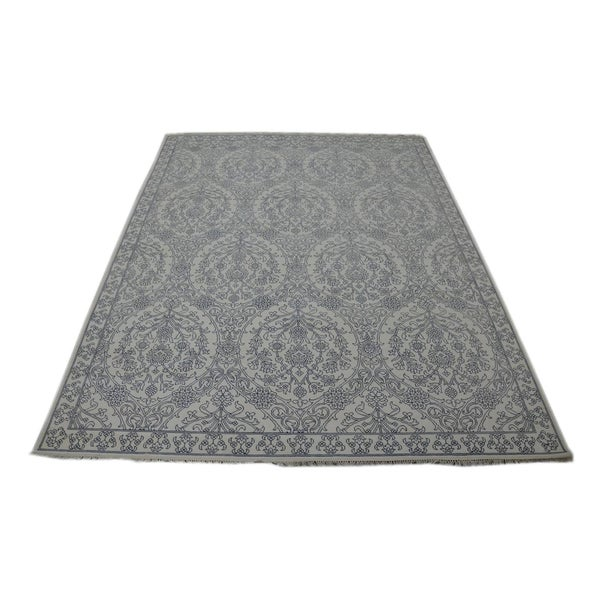 Transitional Hand-knotted Agra Mughal Empire Style Cotton Area Rug (9'4 x 12')