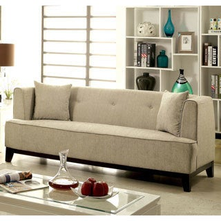 Furniture of America Esmone Modern Tuxedo Linen Sofa