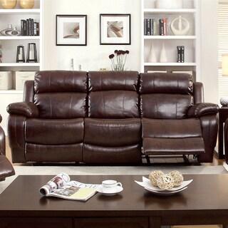 Furniture of America Menezi Brown Bonded Leather Reclining Sofa