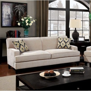Furniture of America Varinne Modern Flannelette Sofa
