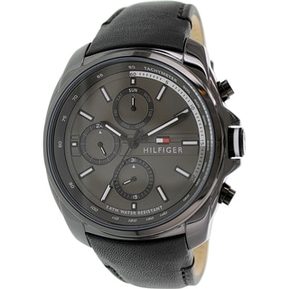 Tommy Hilfiger Men's 1791078 Black Leather Analog Quartz Watch