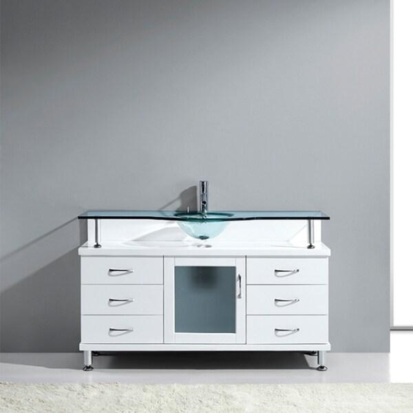 Virtu usa vincente 55 inch single tempered glass sink - 55 inch bathroom vanity single sink ...