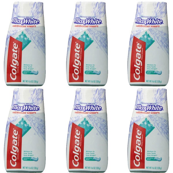 Colgate MaxWhite with Mini Bright Strips Crystal Mint 4.6-ounce Toothpaste (Pack of 6)