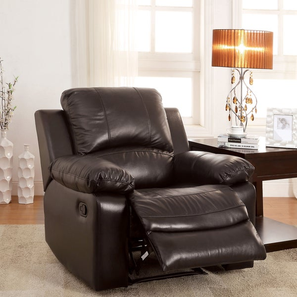 Furniture of America Kender Brown Leather Recliner
