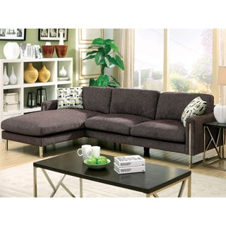 Furniture of America Harlin Modern Taupe Grey Chenille Sectional