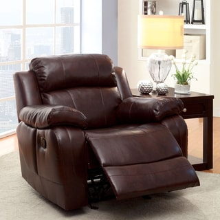 Furniture of America Menezi Brown Bonded Leather Recliner