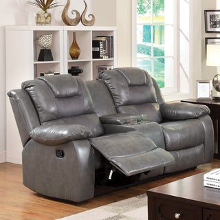 Furniture of America Embassy Convertible Duo-tone Reclining Loveseat with Console