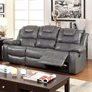 Furniture of America Embassy Convertible Duo-tone Reclining Sofa
