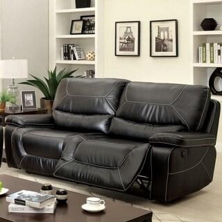 Furniture of America Frasien Modern Bonded Leather Reclining Sofa