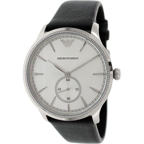 Emporio Armani Men's Classic AR1797 Black Leather Quartz Watch