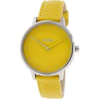 Nixon Women's 'Kensington' A1081806 Yellow Leather Quartz Watch