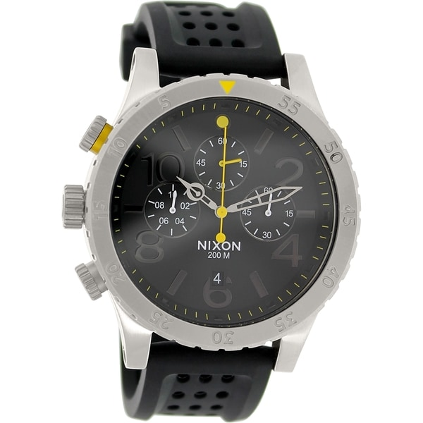 Nixon Men's '48-20 Chrono P A2781227' Black Rubber/ Stainless Steel Quartz Watch