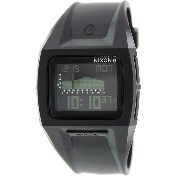 Nixon Men's 'Lodown II A289000' Black Rubber Quartz Tide Watch