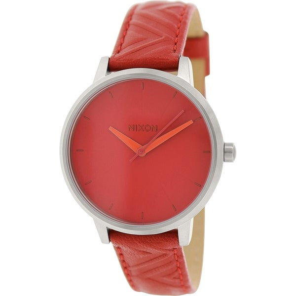Nixon Women's Kensington A1081744 Dark Red Leather Quartz Watch