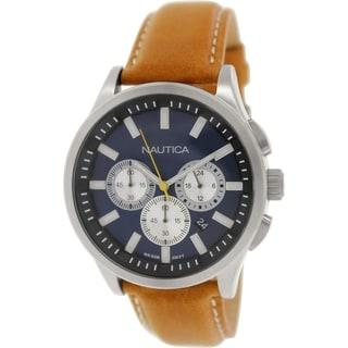 Nautica Men's Nct 17 N16695G Blue Leather Quartz Watch