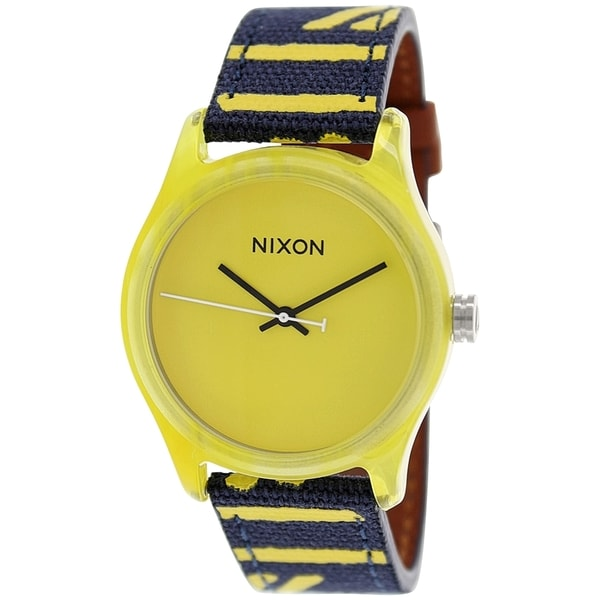 Nixon Men's Mod A402250 Yellow Leather Quartz Watch