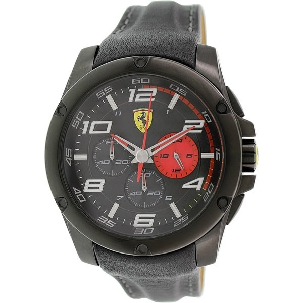 Ferrari Men's Scuderia 0830030 Black Leather Quartz Watch