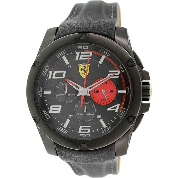 Ferrari Men's Scuderia 0830030 Black Leather Quartz Watch