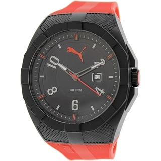 Puma Men's Iconic PU103501005 Black Rubber Analog Quartz Watch
