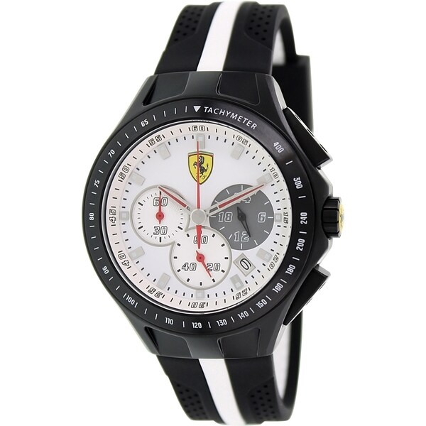 Ferrari Men's Race Day 0830024 Black/ White Silicone Quartz Watch