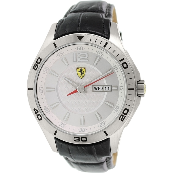 Ferrari Men's 0830092 Silver Leather Quartz Watch