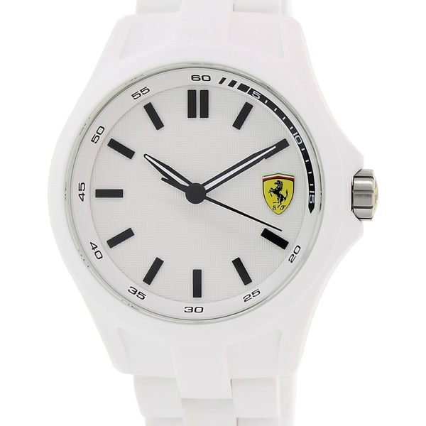 Ferrari Men's Pit Crew 0830155 White Plastic Quartz Watch