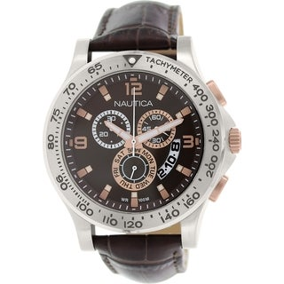 Nautica Men's Nst 600 NAD19503G Brown Leather Quartz Watch