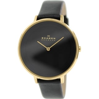 Skagen Women's SKW2286 Ditte Analog Black Dial Black Leather Watch
