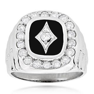 14k Gold Men's 1 3/4ct Diamond Black Onyx Ring (H-I, SI1-SI2)